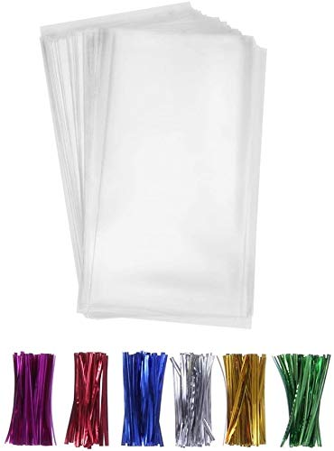 200 Pcs 4x9 Clear Flat Cello/Cellophane Treat Bags for Gift Wrapping, Bakery, Cookie, Candies, Dessert, Party Favors Packaging, with Color Twist Ties!