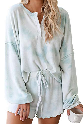 Womens Long Sleeve Short Pajamas Set Tie Dye Printed Ruffle Soft Top and Pants PJ Set Nightwear Sleepwear Loungewear