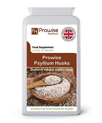Psyllium Husks 750mg x 90 Cápsulas -Fibra dietética natural para la...