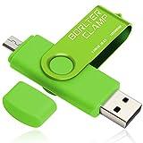 BorlterClamp 128GB Chiavetta USB 3.0, 2 in 1 Pen Drive (Micro USB e USB 3.0) OTG Memoria Flash, USB Flash Drive Girevole per Android Smartphone/Tablet/Computer (Verde)