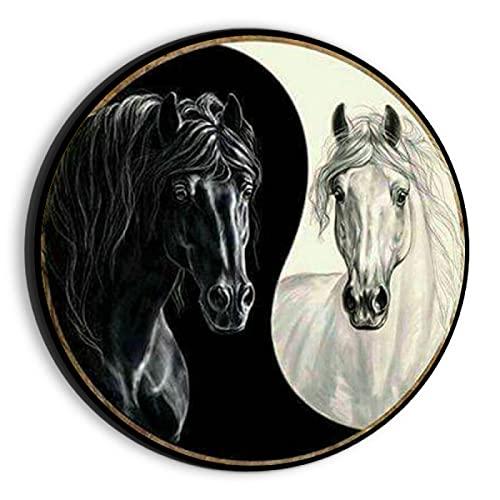 JHGAA Rompecabezas 1000 Piezas Yin Yang Caballo Negro Caballo Blanco Rompecabezas 1000 Piezas 67,5x67,5 cm