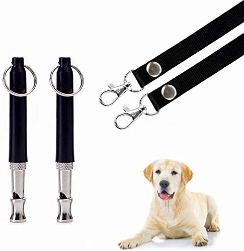 HEHUI Dog Whistle, 2020 Upgrade Dog Whistle to Stop Barking Adjustable Pitch Ultrasonic Safety Stainless Steel Dog Training Whistle 2 Packs - Dog Whistles with 2 Free Lanyards