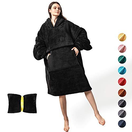 Oversized Hoodie Blanket Sweatshirt with Gaint Pocket Sleeves,Comfortable Sherpa Wearable Blanket...