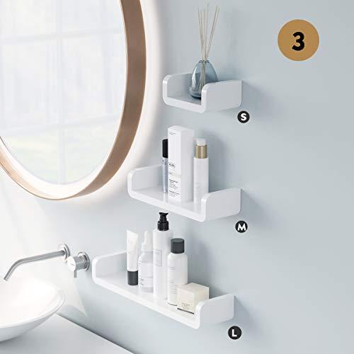 Laigoo Adhesive Floating Shelves Non-Drilling, Set of 3, Display Picture Ledge Shelf U Bathroom Shelf Organizer for Home/Wall Decor/Kitchen/Bathroom Storage(S+M+L)