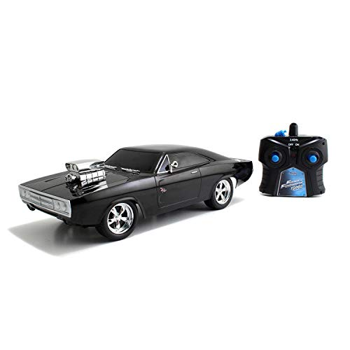 Jada Toys 253206004 Fast&Furious Charger Fast & Furious RC, Dodge 1970, Street, Ferngesteuertes Auto, Turbofunktion, 2-Kanal Funkfernbedienung, USB-Ladefunktion, inkl. Batterien, 1:16, schwarz