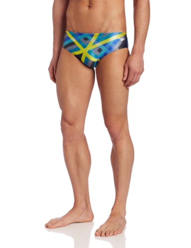 Speedo Men's Laser Stripe Brief Swimsuit, Blue, 28