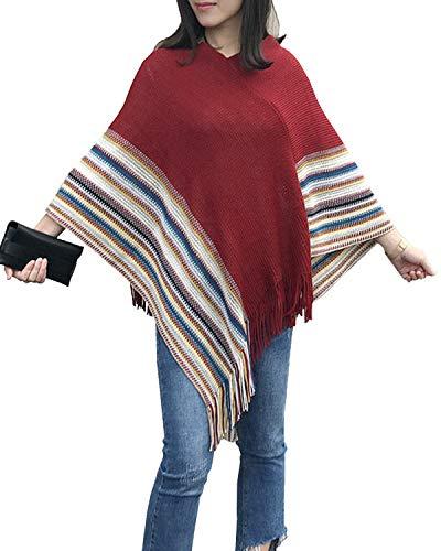 FENXIMEI Vrouwen Wrap Sweater Casual Multi kleuren Gestreepte Patchwork Pullover Winter Poncho met Kwastje