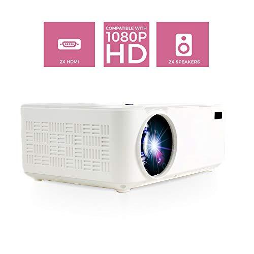 PRIXTON Goya P20 - 2800 Lumen Mini Portable Projector / Home Cinema Projector, 2 luidsprekers en afstandsbediening inbegrepen, 50.000 uur afspelen, ingangen: VGA, 2xHDMI, USB2.0, MicroSD en AV