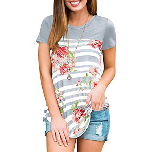 Read About Startview Women Summer Stripe Printing T Shirt V Neck Loose Tops Blouse Casual Tunic Shir...