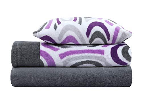 ADP HOME - Juego de sábanas coralina 240 GSM Estampado Begonia (Gris, Cama de 150 CM)