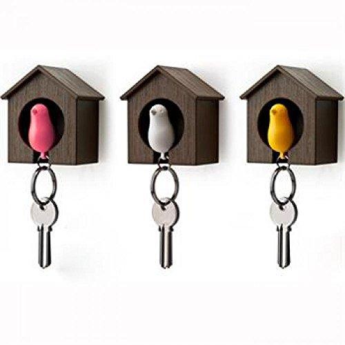 gootrades 2pcs Cute Bird nido Sparrow casa clave cadena llavero silbato de plástico gancho de pared soporte (pájaro color enviar En Al Azar.), color BROWM M