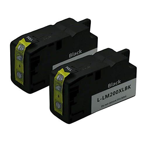 SXCD Cartucho De Tinta 200XL para Lexmark,Reemplazo De Alto Rendimiento para OfficeEdge Pro4000C PRO4000 PRO5500 PRO5500T Impresora De Inyección De Tinta Compatible Y Col Black x 2