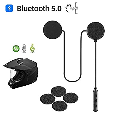 Motorcycle Helmet Bluetooth Headset,Bluetooth 5.0,Waterproof Motorcycle intercom Headset,Speakers Hands Free,Music Call Control,Automatic answering,30 Hours Playing time High Sound Quality System by jzaq