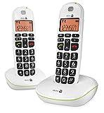 Doro PhoneEasy 100w Téléphone sans Fil DECT pour Seniors avec Grandes Touches et Son Amplifié (Blanc X 2) [Version Française]