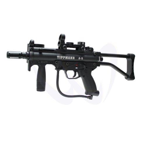 Tippmann A5 A-5 Paintball Sniper Gun w/ Ncstar Red & Green Dot Skeleton Stock 3' SMG Barrel
