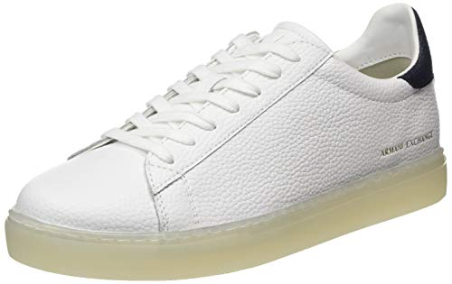 ARMANI EXCHANGE Tumbled Action Leather Sneaker, Scarpe da Ginnastica Uomo, Optic White Navy, 45 EU