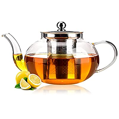Glass Teapot with Infuser, Stovetop Teapot with Removable Stainless Steel Strainer, Microwave & Dishwasher Safe , different ways of heating can be used, Tea Kettle (34 OZ ( 1000 ml ))