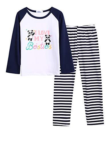 Bricnat Schlafanzug Mädchen 152 146 Panda Dunkelblau Lang Baumwolle Zweiteliger Pyjama Kinder Nachtwäsche Herbst Winter Weihnachten Festlichkeiten 150