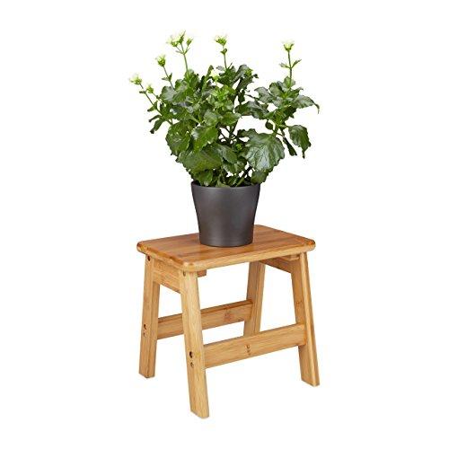 Relaxdays Fußbank RUSTICO aus Bambus, Hocker für Kinder, Tritthocker klein, HBT: ca. 27 x 29 x 24 cm, natur