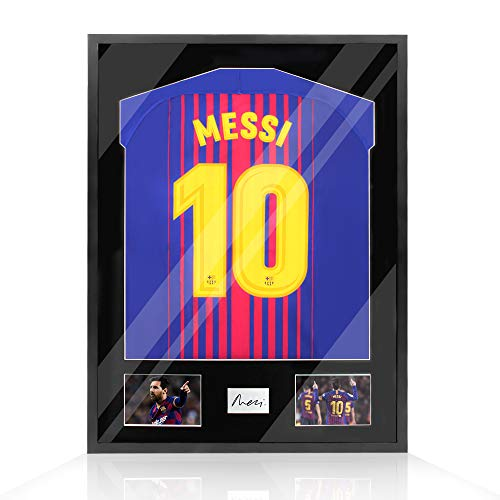 Snail 32'x24' Jersey Frame Display Case Wooden Wall Mounted Shadow Box for Baseball Basketball Football Soccer Hockey Sport Shirt, Plus Displaying Two Idol's Photos and One Signature, Black Finish