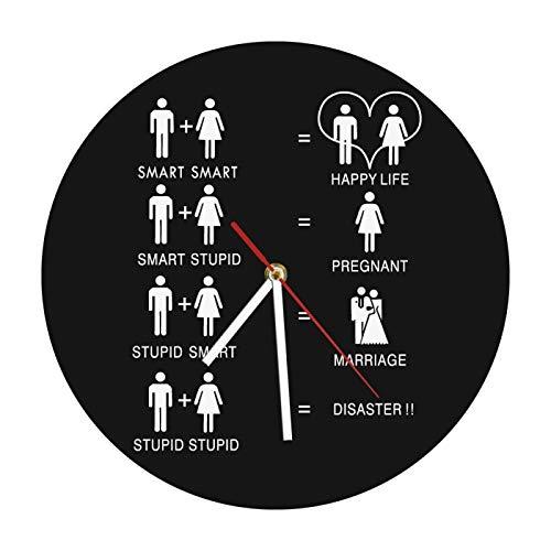 yage Reloj de Pared de Matrimonio de Vida Feliz Divertido Reloj de Silueta de Boda Malvada de 12'Arte de Pared Moderno Regalo del Día de San Valentín