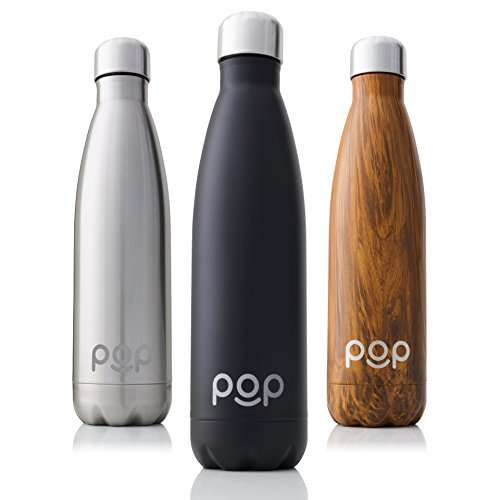 POP Design Stainless Steel Vacuum Insulated Water Bottle, Keeps Cold 24hrs. or Hot for 12hrs, Sweat & Leak-Proof, Narrow Mouth & BPA Free, 17 Oz (500ml), Onyx