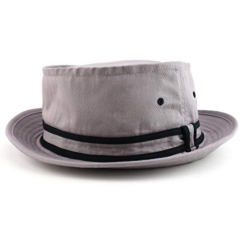 Armycrew Cotton Twill Fisherman Roll Up Bucket Hat with Stripe Band - Grey Black - LXL
