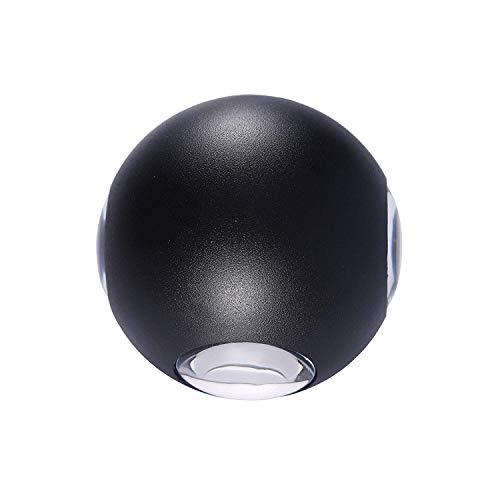 * Led-buitenwandlamp, minimalistisch, rond, aluminium, zwart, waterdicht, voor balkon, trap, woonkamer, buitenplaats, whelight.