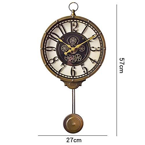 XJ&DD Silencioso Antiguo Péndulo Reloj De Pared,Estilo Vintage Fácil De Leer Reloj De Pared,Grande Retro Decoración Sala De Estar Oficina Inicio Reloj De Pared-a 57x27cm(22x11inch)