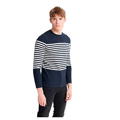 Superdry Edit Supima Breton Crew Heren Carbon Navy