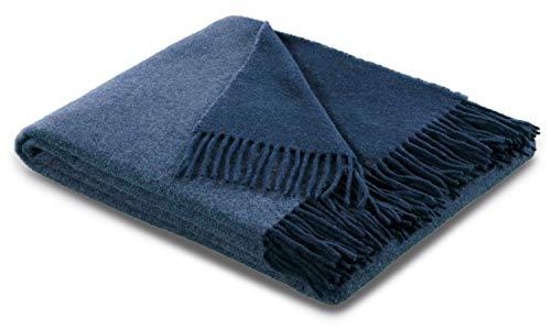biederlack® samt weiche Kuschel-Decke Wool-Mix Jeans-Marine I aus Wolle und Kaschmir I Öko-Tex Zertifiziert I Plaid in 130x170 cm | geeignet als Tagesdecke und Sofa-Decke | Wohn-Decke in top Qualität