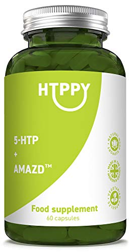 HTPPY + AMAZD 60 5-HTP Capsules: Natural Mood Support to Boost Feelings of Calm, Relaxation and Focus. Reduce Stress and Promote Peaceful Sleep. 5HTP