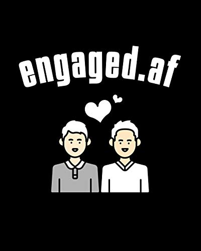 Engaged.af: Gay Wedding Guest Book - Mr And Mr Engagement Gift - Blank Paperback 8' x 10', 200 Pages With All Kinds Of Kisses Cover