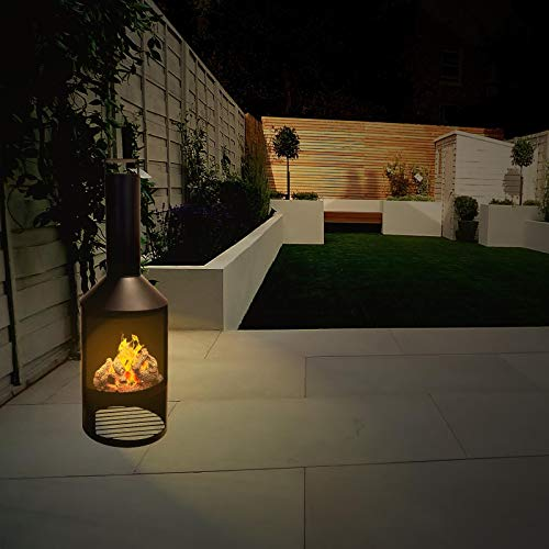 idooka Black Metal Chiminea for Garden Outdoors - Tall Fire Pit Burner Patio Heaters - Wood Log Chimenea Storage - Modern Outdoor Fireplace Firepit Chimney Design - 600u00bcC - 0.8mm Thick - 134 x 44.5cm Outdoor Heaters & Fire Pits