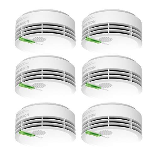 Hekatron 31-5000020-15-01 Rauchmelder Genius PLUS mit integrierter Batterie (10 Jahre Lebensdauer) – inkl. 6 x Klebepad – App-unterstützt – Rauchwarnmelder in Weiß – 6er Set
