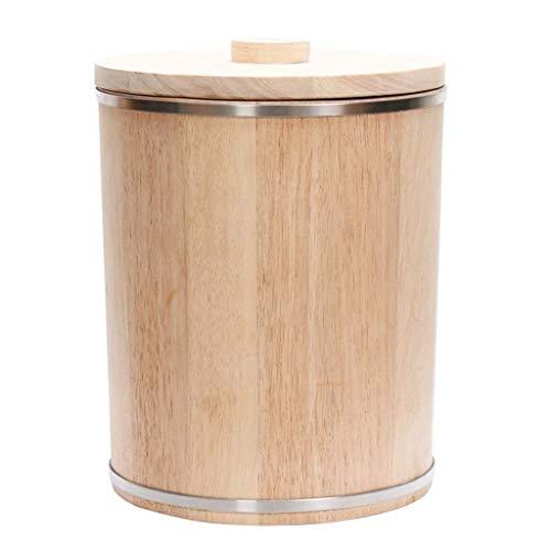 ZXL opslag mueslihouder, massief houten rijstvat huishouden 10KG15KG20KG eiken cilindrische rijst bewaardoos afdichting voor keukengebruik (kleur: bruin, maat: B)