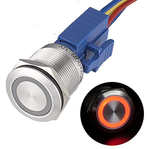 APIELE 22mm Momentary Push Button Switch 12V Angel Eye LED Waterproof Stainless Steel Round Metal Self-Reset 7/8'' 1NO 1NC with Pigtail (Red)