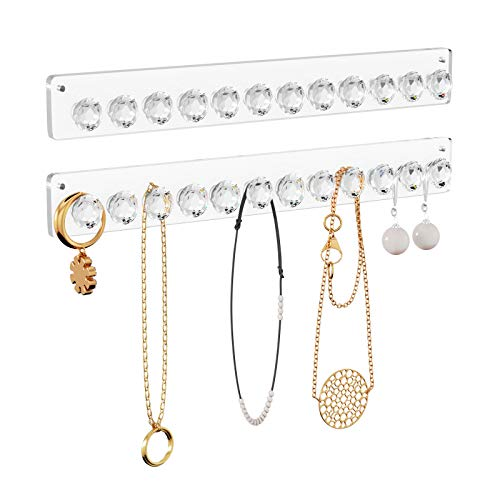 NIUBEE Necklace Hanger,2 Pack Arylic Necklace Holdr Wall Mounted Jewelry Organizer with 12 Diamond...