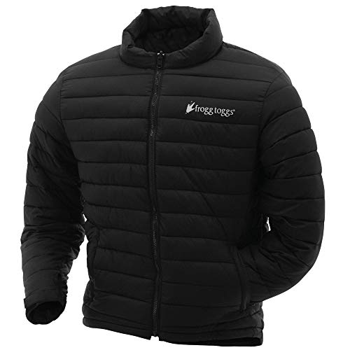 Frogg Toggs Co-Pilot Insulated Puff Jacket, Water Resistant, Black & Reversible Camo, Compatible w/ Frogg Toggs Pilot II Series Jackets, X-Large