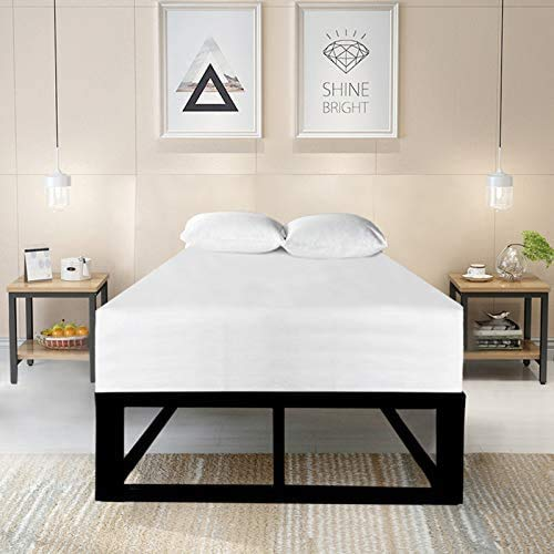 Sleep Trends Modern Attic Loft Low Black Metal Platform Bed Single, Double and King Size with Luxury 20cm Memory Foam Mattress Included (Double)