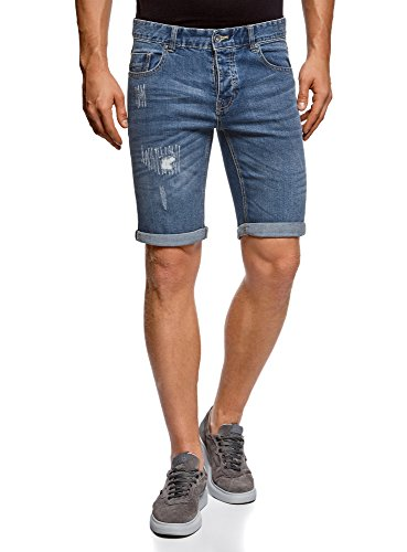 oodji Ultra Hombre Pantalones Cortos Vaqueros Cinco Bolsillos, Azul, W36 / ES 48