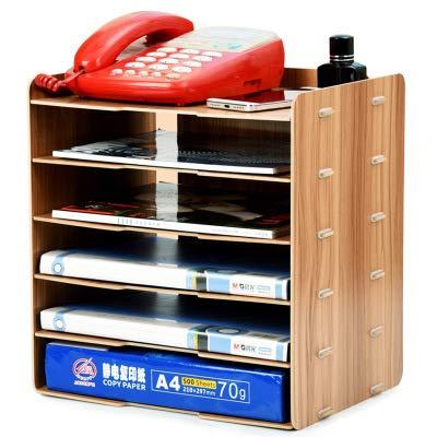 AQZMEA Holz Tischplatte Aufbewahrungskasse Liefert Finishing Aufbewahrungsbox Aufbewahrungsdatei Rack Mehrschicht-a4-informations-bücherregal 28 x 28 x 34,3 cm 018 Kirschholz