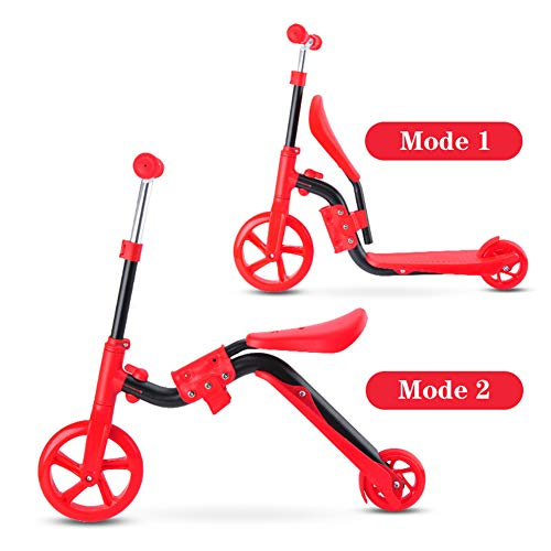WANGJIANGLI 2-in-1 Kick Scooter with Removable Seat for Kids & Toddlers, Balance Bike, 3 Adjustable Height Kids Scooter, Best Birthday Gift for Boys Girls Age 3-8