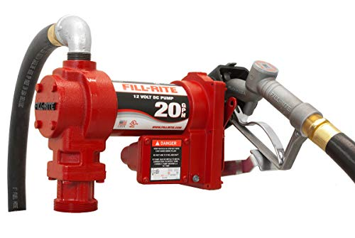 Fill-Rite FR4210G 12V 20 GPM Fuel Transfer Pump with Manual Nozzle, Discharge Hose, & Suction Pipe,Red