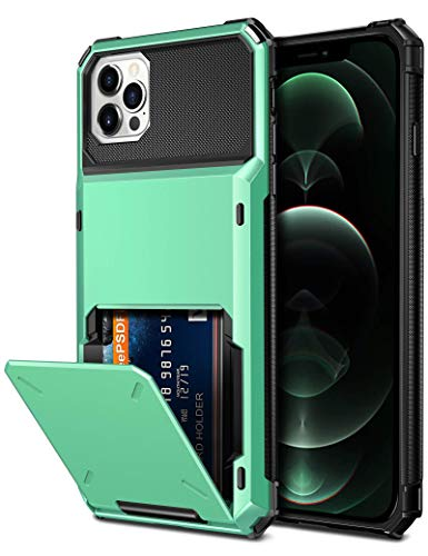 Vofolen Compatible with iPhone 12 Pro Max Case 5G Wallet 4-Card ID Slot Credit Card Holder Flip Hidden Pocket Dual Layer Hybrid TPU Bumper Armor Protective Hard Shell Back Cover Mint