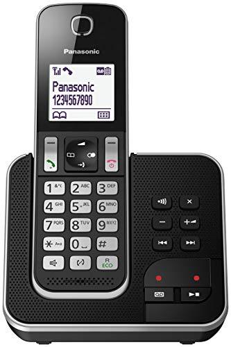 Panasonic KX-TGD320 - Teléfono Fijo Inalámbrico con Contestador (LCD, Identificador de Llamadas, Agenda de 120 Números, Bloqueo de Llamada, Modo ECO, Reducción de Ruido) Color Negro