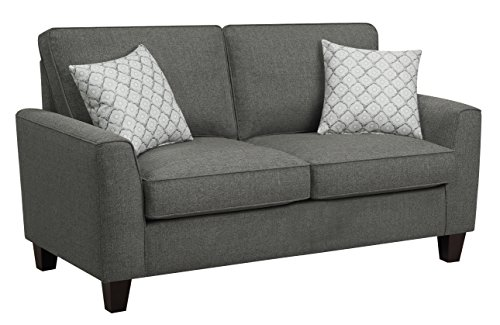 """Serta Astoria Upholstered Sofas Flare Arm Fabric Living Room Couch with Spring and Foam-Filled Seat Cushions, Ships in One Box, 61"""" Loveseat, Dark Grey"""