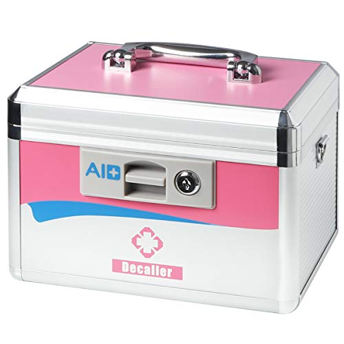 Decaller Medical Box with Lock, Medicine Case with Removable Tray & Handle & Shoulder Strap, 10 1/2' x 7 3/5' x 7 3/5', Small, Pink, YLX002S