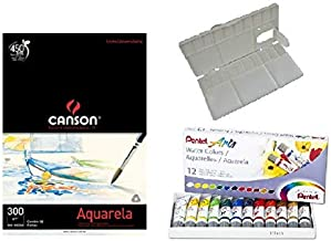 Kit Papel Canson Aquarela + Aquarela Pentel tubo 12 cores + gode Sinoart