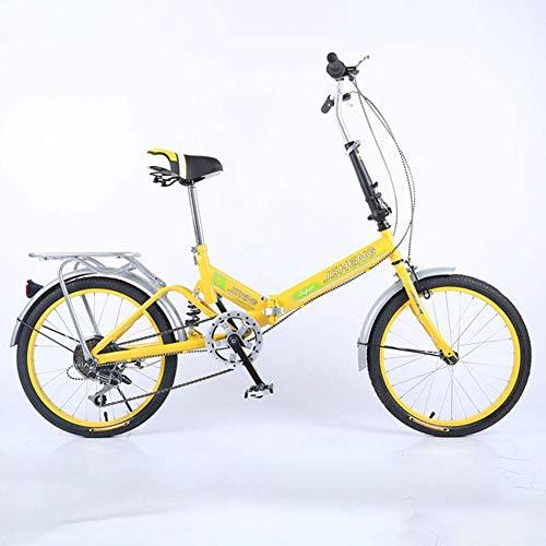YLCJ Faltbares Fahrrad Speed Bicycle, ultraleichtes tragbares tragbares Studentenauto für Erwachsene Frauen, gelb